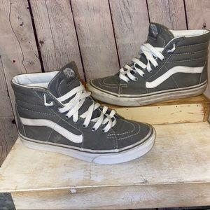 Vans med gray high tops W 8 M 6.5 skater sneakers